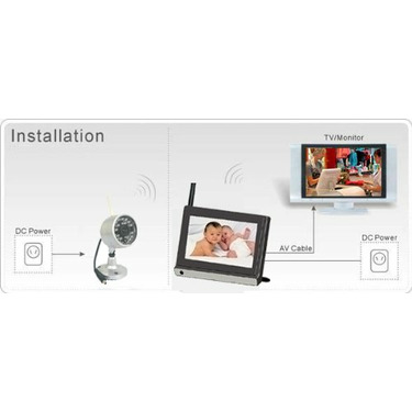 2.4GHz Wireless Colour 2pcs Camera,7inch LCD Video Baby TFT Monitor