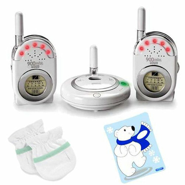 Fisher-Price Private Connection Monitor with Dual Receivers and The First Years 2 Pack No Scratch Mitts and First Aid Cold Pack Baby Bundle