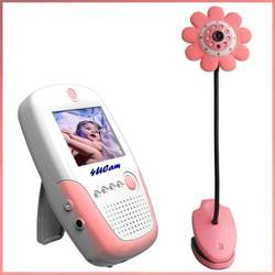 """4UCAM Handheld 2.5"""" Color Video Baby Monitor and 2.4GHz Wireless Camera - Daisy pink (Day & Night) (Video & Audio) Infant Nursery Monitor"""