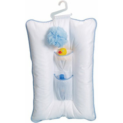 Leachco Comfy Caddy - Baby Bather, Shower Caddy - White With Blue Trim