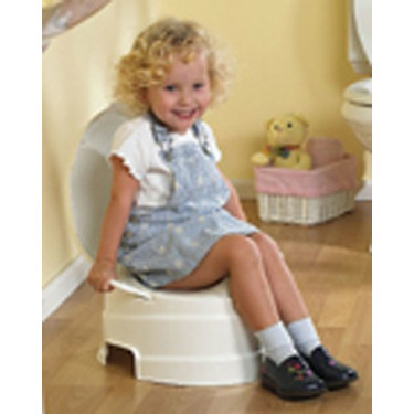 PRIMO 4-In-1 Soft Seat Toilet Trainer and Step Stool White with Pastel Blue Seat