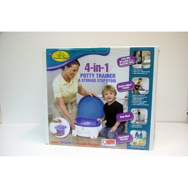 Precious Ones 4-in-1 Potty, Secure-Adjust Trainer, Storage Step Stool and PottEase Liners