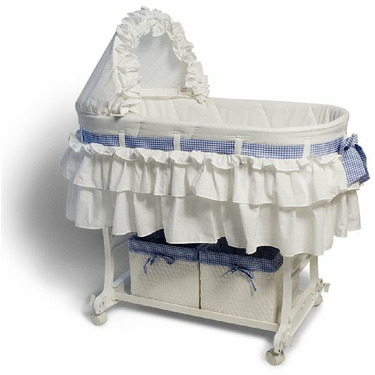 Burlington Baby Bassinet Combo with Wicker Baskets, White