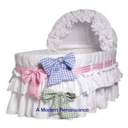 Burlington Baby Bassinet Liner with 3 Colored Ribbons, White