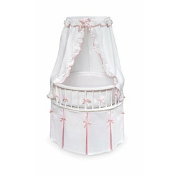 Badger Basket Elegance Round Baby Bassinet, White with White Waffle and Pink Trim