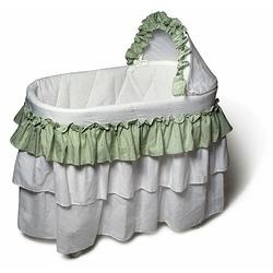 Burlington Baby Full Skirt Bassinet Liner, Sage/White
