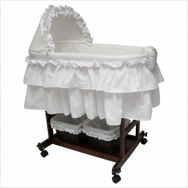 Burlington Baby Elegance Wooden Bassinet Combo, Espresso/White, 0-3 Months