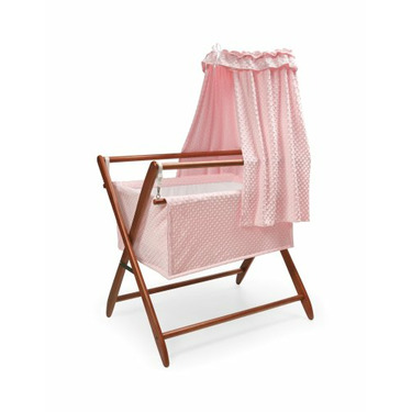Badger Basket Company Tranquility Baby Bassinet Cherry Frame with Pink Dots Bedding