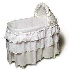 Burlington Baby Full Skirt Bassinet Liner Eyelit, White
