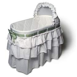 Burlington Baby Bassinet with Full Skirt and Interchangeable Ribbons, White