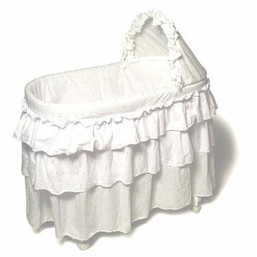 Burlington Baby Bassinet with Full Length Eyelit Skirt, White