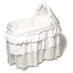 Burlington Baby Bassinet with Full Length Eyelit Skirt, White