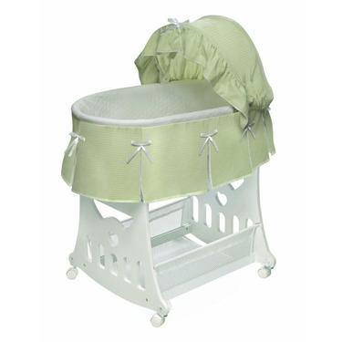 Badger Basket Sage Pleated Waffle Portable Bassinet 'n Cradle w/ Toybox Base