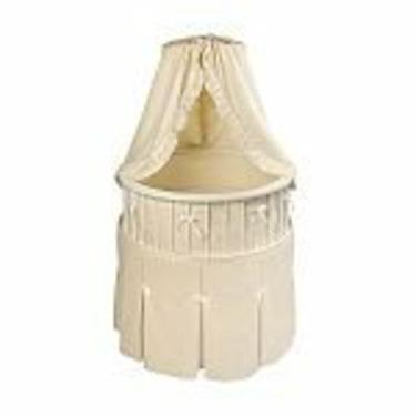 Badger Basket White Elegance Round Baby Bassinet w/ Ecru Waffle Bedding