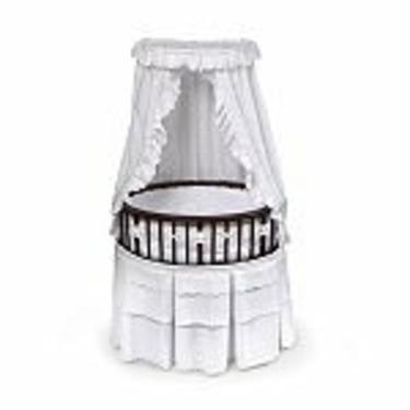 Badger Basket Cherry Elite Oval Bassinet with White Eyelet Bedding
