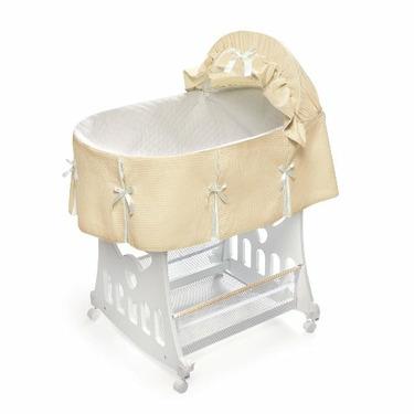 Badger Basket Portable Bassinet 'N Cradle with Toybox Base, Ecru Waffle Pleated