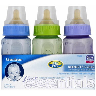 First Essential Fashion Tints BPA Free Plastic Nurser With Latex Nipple, 5 Ouce, 3 Pack