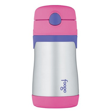 Thermos Foogo Phases Leak Proof Stainless Steel Straw Bottle, 10 Ounce, Pink/Purple