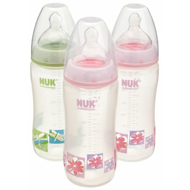NUK Orthodontic Silicone BPA Free Nipple Bottle, 10 Ounce, 3 Pack, Colors May Vary