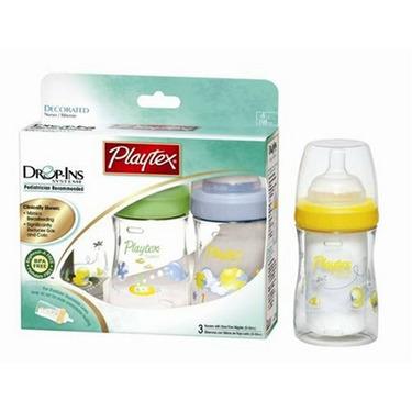 Playtex BPA Free Drop-Ins Premium Decorated Nurser 4 oz - 3 Pack (Colors Vary)