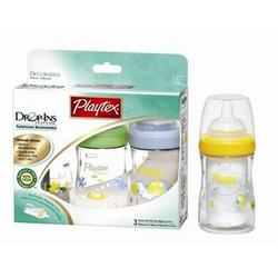 Playtex BPA Free Drop-Ins Premium Decorated Nurser 4 oz - 3 Pack (Colors Vary)