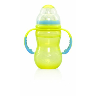Nuby Wide Neck Bottle With Handle, Colors May Vary, 10 Ounce