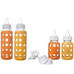 Lifefactory Glass Baby Bottle Starter Kit, Unisex Orge/Yellow, 9 Ounce & 4 Ounce