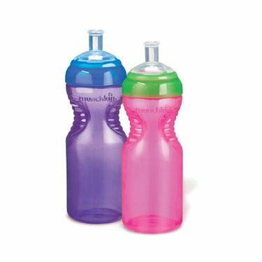Munchkin BPA Free Mighty Grip Sports Bottle 2 Pack, 10 oz,Colors Vary