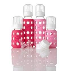 Lifefactory Glass Baby Bottle Starter Kit, Girl Pk/Hotpink, 9 Ounce & 4 Ounce