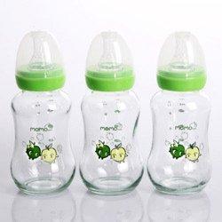 Momo Baby 5oz Glass Feeding Bottle 3-Pack Green