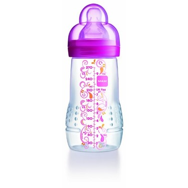 Mam Baby Bottle, Single Pack, 4 Months, 11 Ounce, Colors May Vary