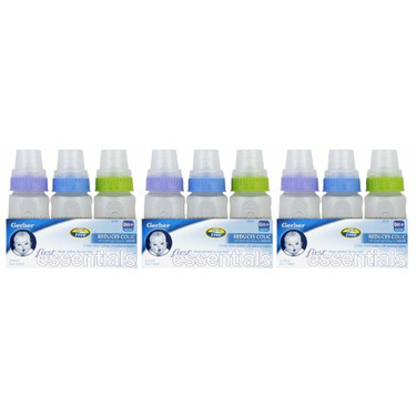 First Essential Silicone Bottle, 5 Ounce, 3 Pack (9 Count), Blue/Purple/Green