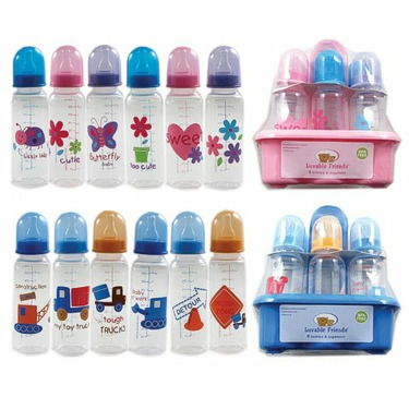BPA FREE 6-Pack 8oz Printed Bottles with Organizer (Medium Flow Silicone Nipples), Blue