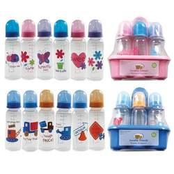 BPA FREE 6-Pack Printed 8oz Bottles with Organizer (Medium Flow Silicone Nipples), Pink