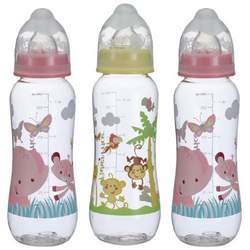 Fisher-Price Rainforest Boxed Bottles, Pink/Yellow, 8 Ounce, 3 Pack