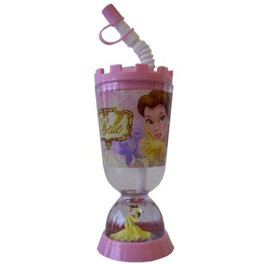 Princess Belle Tumbler With Snow Globe - Disney Princess Belle Sipping Cup With Flex Straw