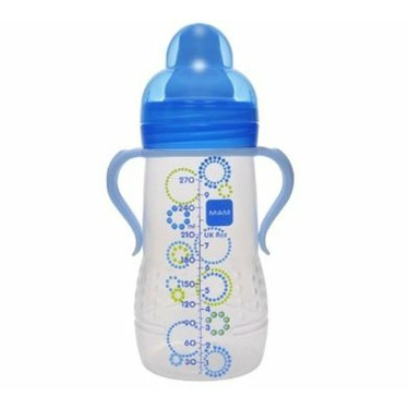 Mam Hold Me Bottle with Handles 6+ Months 9 Ounce boy colors BPA FREE