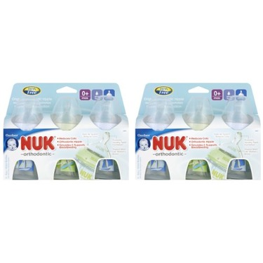 NUK First Choice Orthodontic Silicone Wide-Neck Bottle, Slow Flow, 5 Ounce, 3 Pack (6 Count), Blue/Green