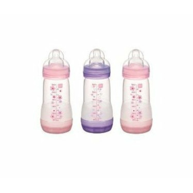 Sassy Mam Anti-Colic Bottle Boy, 3 Pack, 8 Ounce -girl colors, Medium flow nipples