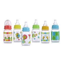 Nuby Clear Printed Bottle with Silicone Nipple, Colors May Vary, 4 Ounce