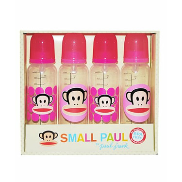 Paul Frank Small Paul 4 (8 OZ.) Baby Bottle Set Pink or Blue No Bisphenol - A and Phthalates (BLUE)