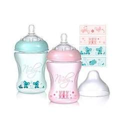 Nuby BPA Free Natural Touch Printed Bottles 3-Pack - 8 oz. - Pink/Green