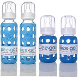 Lifefactory BPA-Free Glass Baby Bottles w/ Silicone Sleeves-4 Pack (9 oz.+4oz. Sky & Ocean)