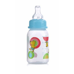 Nuby Clear Printed Bottle, Colors May Vary, 3 Pack, 4 Ounce