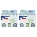 NUK First Choice Orthodontic Silicone Wide-Neck Bottle, Medium Flow, 10 Ounce, 3 Pack (6 Count), Pink/Green