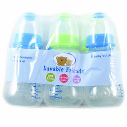 Luvable Friends 6-Pack BPA Free Waisted Baby Bottles, 6 Oz, Blue