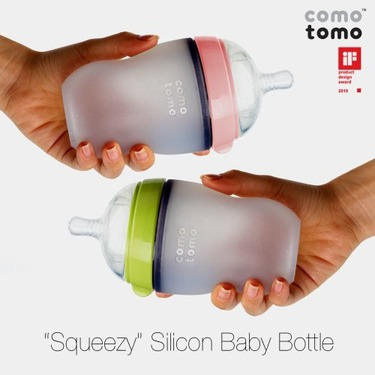 Comotomo Natural Feel Baby Bottle Double Pack, Green/Pink, 250ml