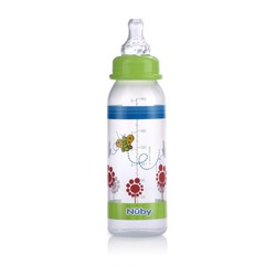 Nuby Clear Printed Bottle, Colors May Vary, 3 Pack, 8 Ounce