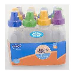 Evenflo BPA Free 12-pack Clear Bottle 8 Oz.