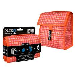 PackIt Freeze+Go Bottle Tote and Lunch Bag Cooler (Polka Dot)